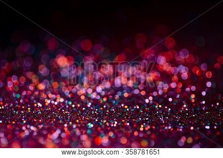 Decoration Bokeh Glitters Background, Abstract Shiny Backdrop With Circles, Modern Design Overlay Wi