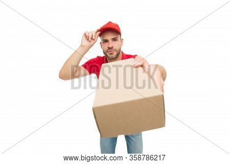 Delivery Services Are Now Only Option. Shopping Concept. Safely Ordering Food. Courier Delivering Pa