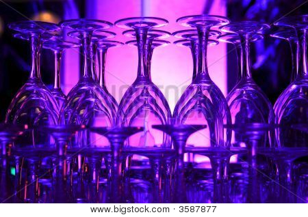Purple Hued Stack Of Wine Glasses