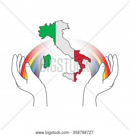 Italy Map With A Rainbow For Hope And Wish. Everything Will Be Fine. Italian Slogan: Andra Tutto Ben