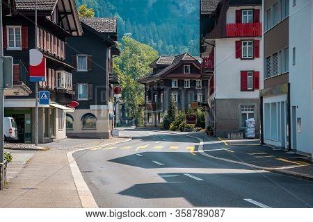 Empty Street Of European City. Urban Environment.