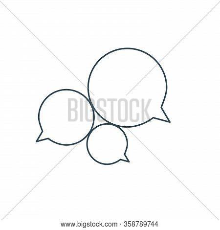 Three Linear Chat Speech Message Bubbles. Forum Icon. Communication Concept. Stock Vector Illustrati