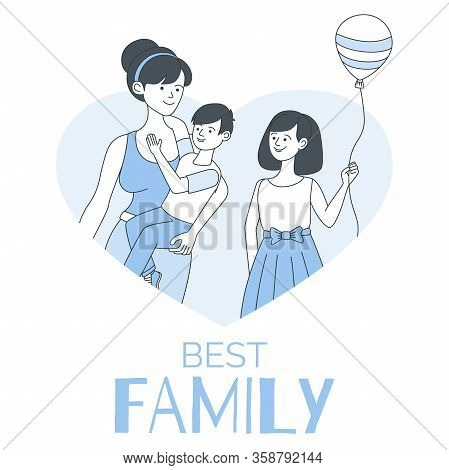 Best Family Flyer Design Template With Text Space. Happy Mother And Children In Heart-shaped Frame V