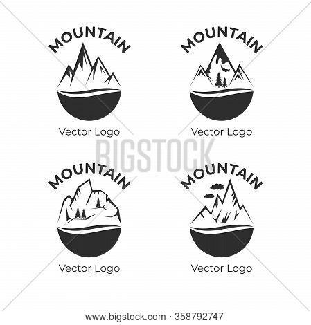 Mountain Vector Logo Design. Silhouettes Of Rock Mountains, Rocky Snow Tops. Outdoor Activity, Trave