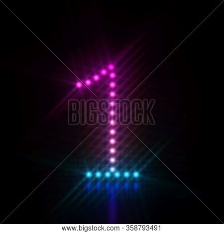 Pink Blue Dot Light Font Number 1 One 3d Render Illustration Isolated On Black