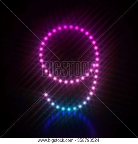 Pink Blue Dot Light Font Number 9 Nine  3d Render Illustration Isolated On Black