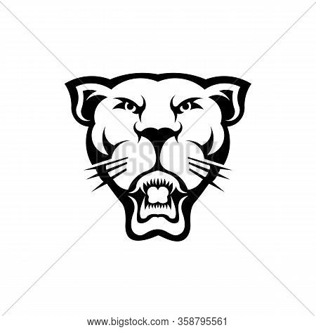 Puma Or Lioness Sneaks On Its Paws,  Woodland Animal Head Icon  Angry Puma
