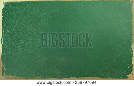 Abstract Grunge Jade Green Background With Golden Patina