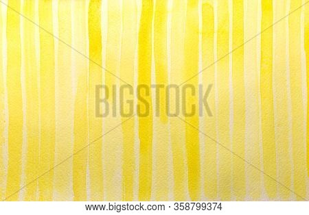Yellow Vertical Hand Painted Stripes. Watercolor Textures On White Paper Background. Yellow Watercol