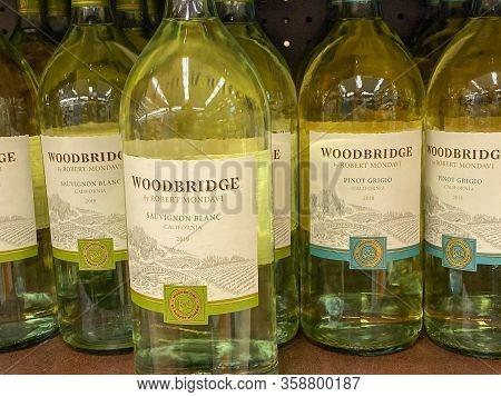 Atlanta, Ga/usa-3/21/20:  Bottles Of Robert Mondavi Woodbridge Chardonnay Wine At A Kroger Grocery S
