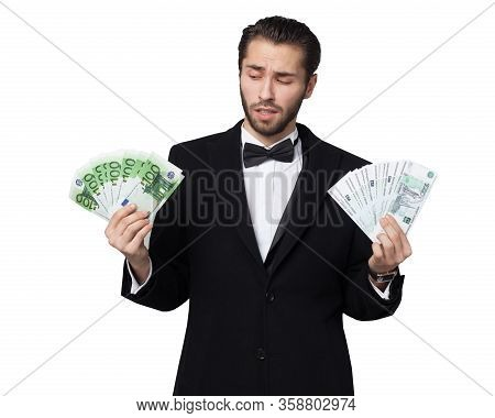 Shark Of Capitalism. Young Male Businessman Enjoying Euro Money