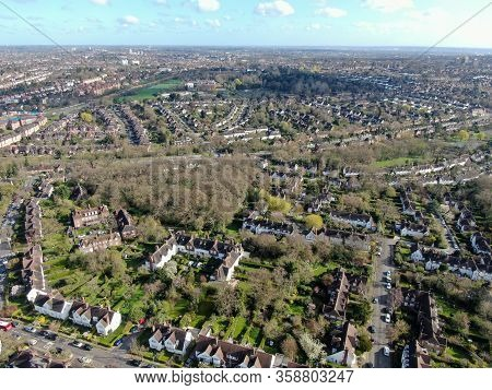 Aerial View Of Hampstead Garden Suburb And Typical House Cottage, An Elevated Suburb Of London.