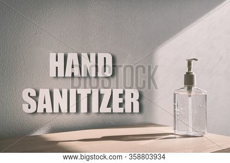 Hand sanitizer billboard sign for COVID-19 coronavirus prevention - proper measures to keep clean hands with alcohol gel rub hand sanitiser background.