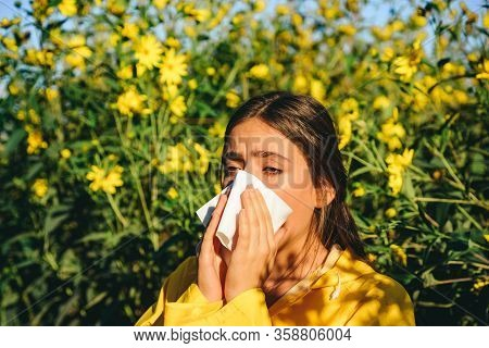 Allergy, Medical, Seasonal Flowers Concept. Allergy To Flowering. Sneezing And Runny Nose From Polle