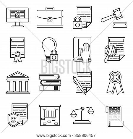 Outline Copyright Icons Set. Copyright Icons Set In Line Style Isolated On White Background For Webs