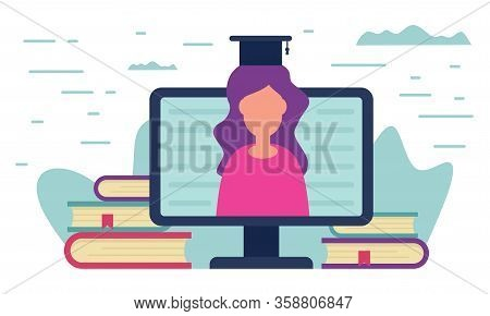 Distance Education Concept. Teacher Learning On Monitor Screen Around The Books. Metaphorical Concep
