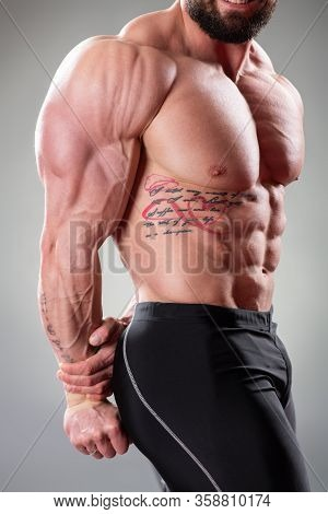 Close Up Of Sexy Muscular Bodybuider Posing On The Gray Background. Triceps, Pectoral Muscle And Abs