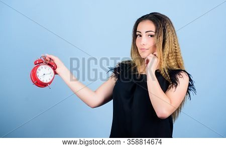 Time Management. Punctuality And Discipline. Woman Hold Red Alarm Clock. Counting Time Till Deadline