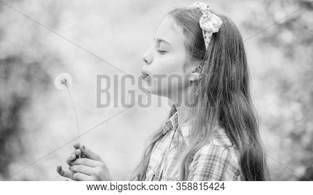 Dandelion. Spring Holiday. Womens Day. Happy Child Hold Blowball. Natural Beauty. Childhood Happines
