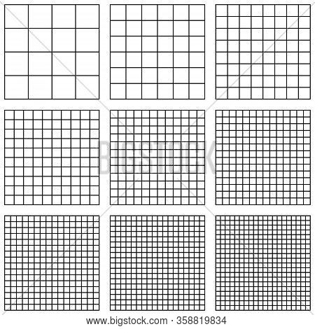 Set Square Grid, With Different Point Size, Vector Pattern Grid Pixel Per Inch, Ppi Pixel Density El