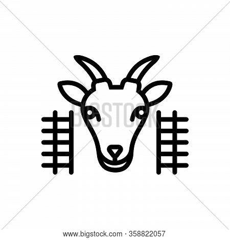 Black Line Icon For Goat-in-pen Goat Pen Animal Cattle Domestic Farm Hoof Lamb Mammal