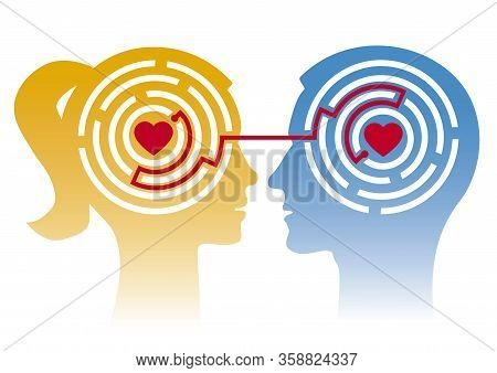 Loving Couple,labyrinth Of Love, Stylized Male And Female Heads In Profile With Maze And Hearts. Con