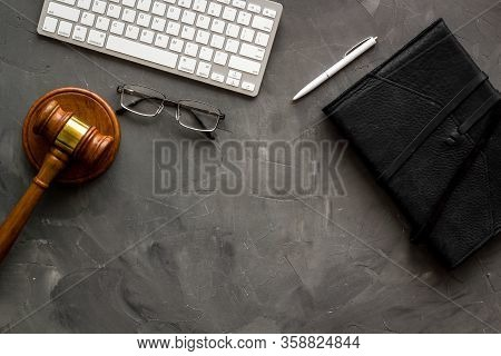 Judge Gavel Near Documents And Keyboard - Lawyer Concept - On Grey Background Top-down Copy Space