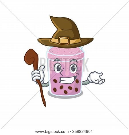 Taro Bubble Tea Sneaky And Tricky Witch Cartoon Character