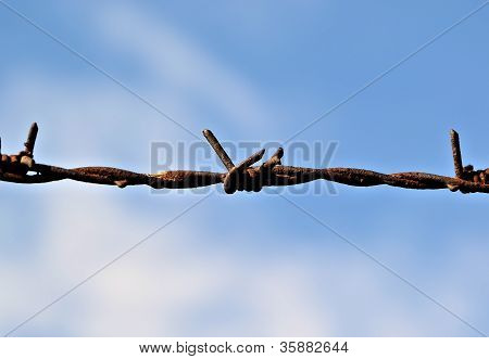 Barbed wire on a fence and blue sky