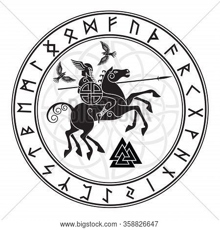 God Wotan, Riding On A Horse Sleipnir With A Spear And Two Ravens In A Circle Of Norse Runes. Illust