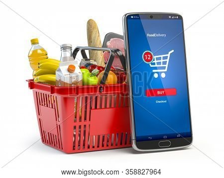 Shopping basket with fresh food isolated on white. Grocery supermarket, food and eats online buying and delivery concept. 3d illustration
