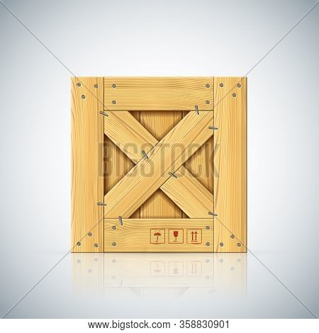 Stapled Square Vector Wooden Crate With Timber Cleats