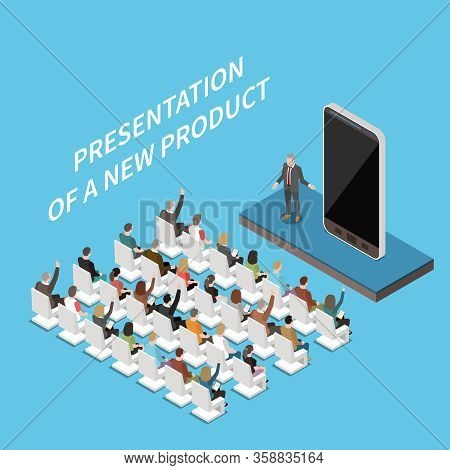 Modern Conference Hall Presentation Isometric Composition With Audience And New Smartphone Model Pro