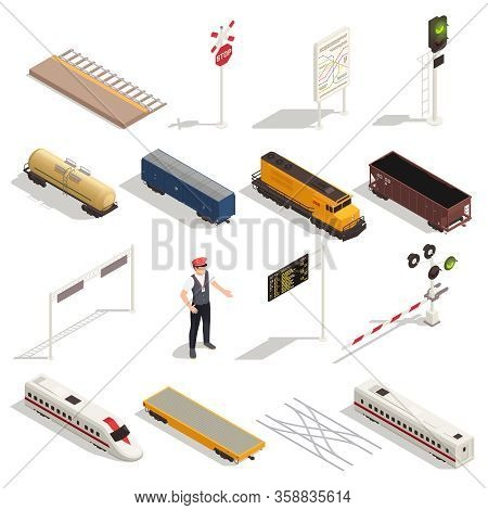 Train Railway Station Isometric Set With Isolated Icons Of Carriages Locomotives And Elements Of Rai