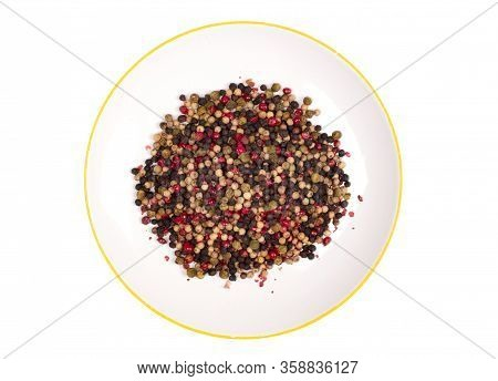 Peper Background, White, Green, Black And Red Peper On A White Plate, Isolated On White