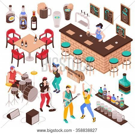 Music Bar Isometric Set Of Furniture For Cafe  Drinks Musicians Band And Dancing Guests Isolated Vec