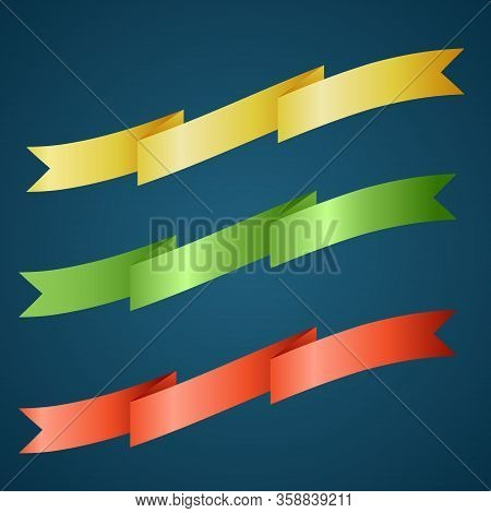 Colorful Ribbon For Title, Design Of Promotional Products, Use To Highlight Title Or Promotional Inf