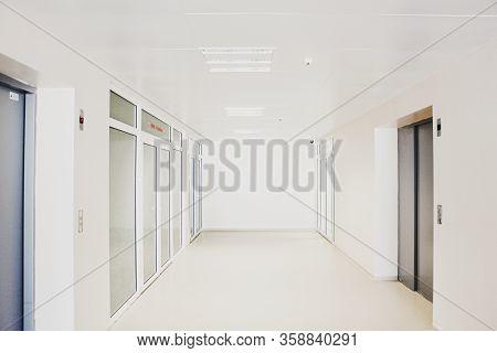 Image Of Empty Corridor In Modern Hospital