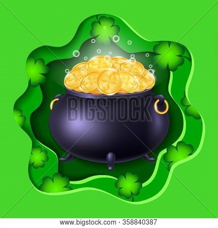 Leprechauns Big Pot Of Lucky Gold Coins  On Green Background With Clover