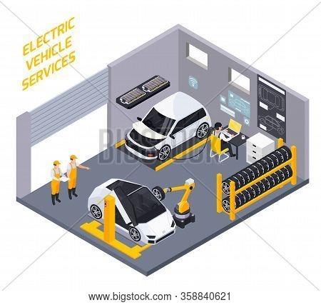 Electric Vehicles Maintenance  Diagnostic Battery Charge And Rejuvenation Service Isometric Composit