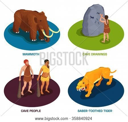 Caveman Prehistoric Primitive People Set Of Compositions With Text Ancient Animals And Characters Of