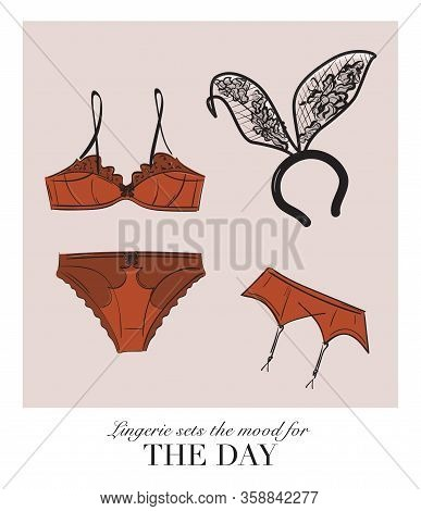 Sexy Lingerie Set, Bra And Undies Underwear Collection With Bunny Ears Playtime Illustration. Plus S