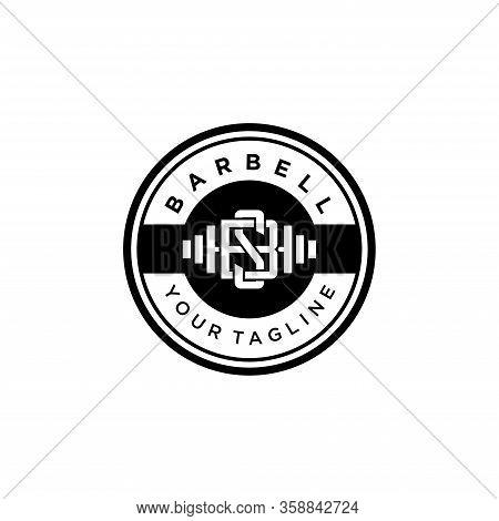 Barbell Sport Logo. Vintage And Badge Concept