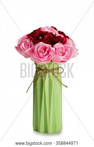 Artificial flower bouquet isolated on white.