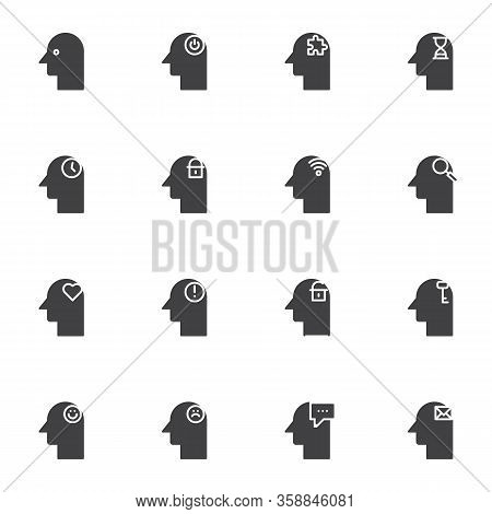 Human Mind Vector Icons Set, Modern Solid Symbol Collection, Filled Style Pictogram Pack. Signs, Log