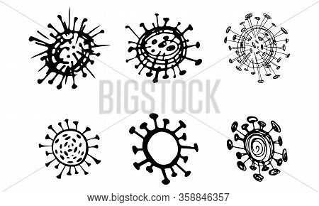 Outline Set Of Bacteria Related Vector Line Icons. Coronavirus Infection. Line Drawing. Medical Icon