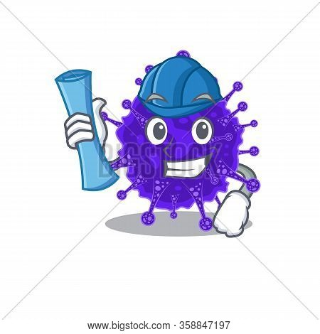 Cartoon Character Of Nidovirales Brainy Architect With Blue Prints And Blue Helmet