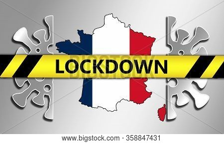 Coronavirus Pandemic Puts France On Lockdown, 3d Rendering