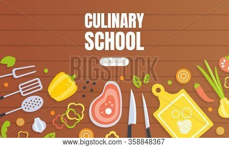 Culinary School Landing Page Template, Cooking Class Online Web Page, App Vector Illustration