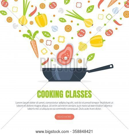 Cooking Classes Landing Page Template, Culinary School Online Web Page, App, Website Vector Illustra